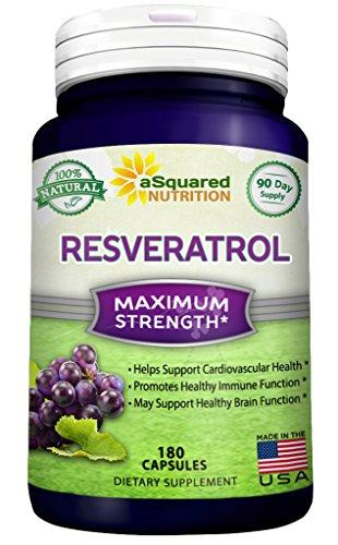 100% Pure Resveratrol - 1000mg Per Serving Max Strength (180 Capsules) Antioxidant Supplement Extract, Natural Trans-Resveratrol Pills for Heart Health & Weight Loss, Trans Resveratrol for Anti-Aging - Augment Hub