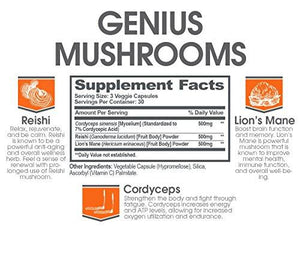 Genius Mushroom – Lions Mane, Cordyceps and Reishi – Immune System Booster & Nootropic Brain Supplement – Wellness Formula for Natural Energy, Stress Relief, Memory & Liver Support, 90 Veggie Pills - Augment Hub