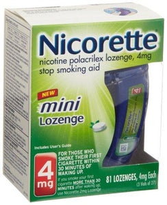 Mini Nicorette Nicotine Lozenge to Stop Smoking, 4mg, Mint Flavor, 81 Count - Augment Hub