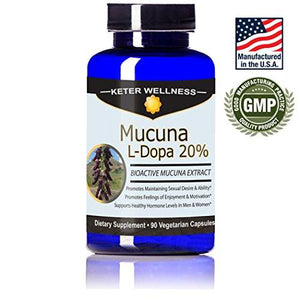 Mucuna L-Dopa 20% | Made in USA | Pure Mucuna pruriens Extract | 90 Vegetarian Capsules | High L-Dopa Levels - Augment Hub