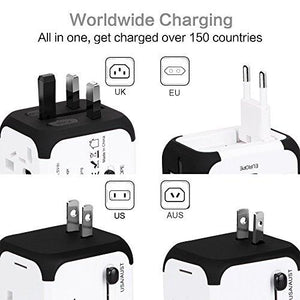 Travel Adapter, UPPEL International Power Adapter, European Adapter with Dual USB, Power Adapter Wall Charger for US EU UK AU about 151 countries Universal Plug Adapter with Dual Safety Fuse(White) - Augment Hub