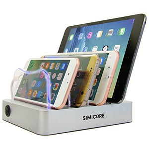 Simicore Charging Station Dock & Organizer for Smartphones, Tablets & Other Gadgets - Compact Multiple USB Charger & Phone Docking Station with Charging Status Indicator (Silver) - Augment Hub