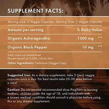 100% Organic Ashwagandha 1300 mg - Natural Energy & Immune System Booster - Stress & Anxiety Relief - Organic, Vegetarian & GMO-Free – 60 Capsules with Black Pepper for Absorption - Augment Hub