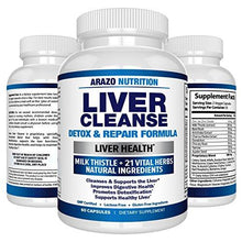Liver Cleanse Detox & Repair Formula – 22 Herbs Support Supplement: Milk thistle Extracts Silymarin, Beet, Artichoke, Dandelion, Chicory Root – Arazo Nutrition USA - Augment Hub