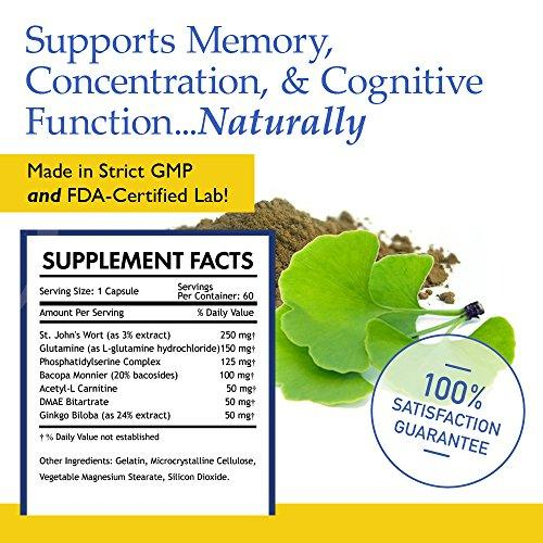 #1 Brain Function Booster Nootropic - Super Ginkgo Biloba complex with St  John's Wort & Bacopin - Supports Mental clarity, Focus, Memory & more -  100%