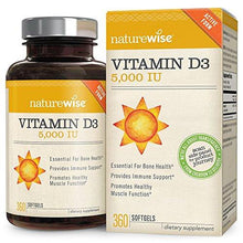 NatureWise Vitamin D3 5,000 IU for Healthy Muscle Function, Bone Health and Immune Support, Non-GMO in Cold-Pressed Organic Olive Oil,Gluten-Free, 1-year supply, 360 count - Augment Hub