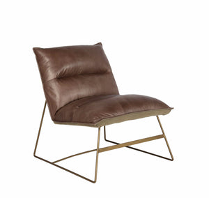 "32.5""H TAOS LEATHER ACCENT CHAIR IN COCAO BROWN"