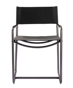 "32""H STOWE LEATHER DIRECTORS CHAIR- EBONY BLACK"