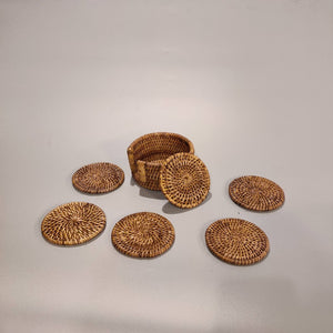 Rattan Round Coasters Set, 12-Pack