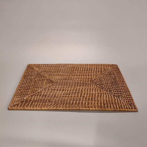 Rattan Rectangle Placemat, 12-Pack
