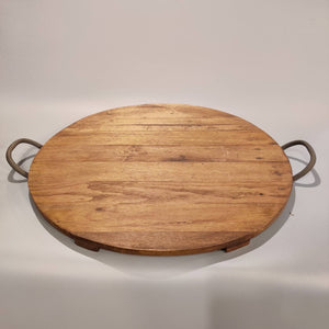Reclaimed Wood Round Serving Tray, 4-Pack