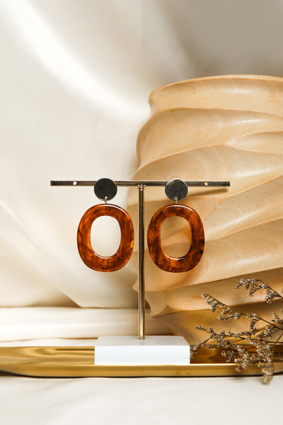 Load image into Gallery viewer, Round Acrylic Stud Earrings in Brown