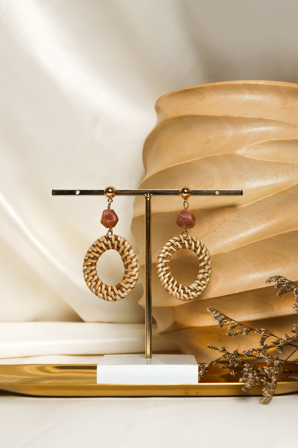 Bohemian Circle Rattan Stud Earrings in Rose