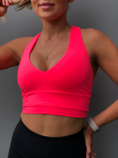 NEON CORAL PINK V-NECK TANK
