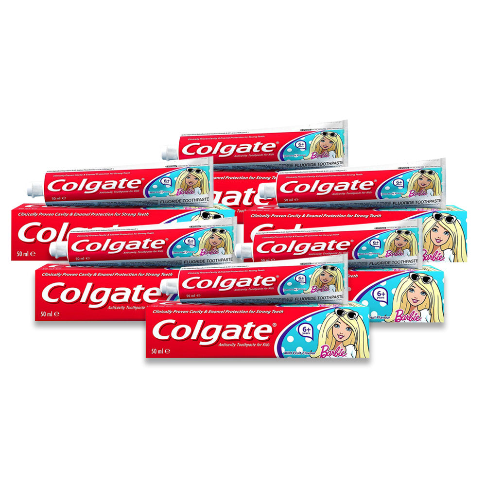 Colgate Kids Girls Fluoride Toothpaste 6+ Barbie 50ml - Pack of 6