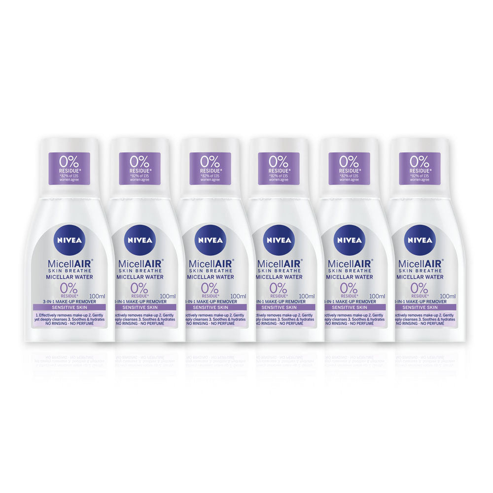Nivea MicellAIR Skin Breathe Water 3 In 1 Makeup Remover 100ml - (Pack Of 6) - Billjumla.com