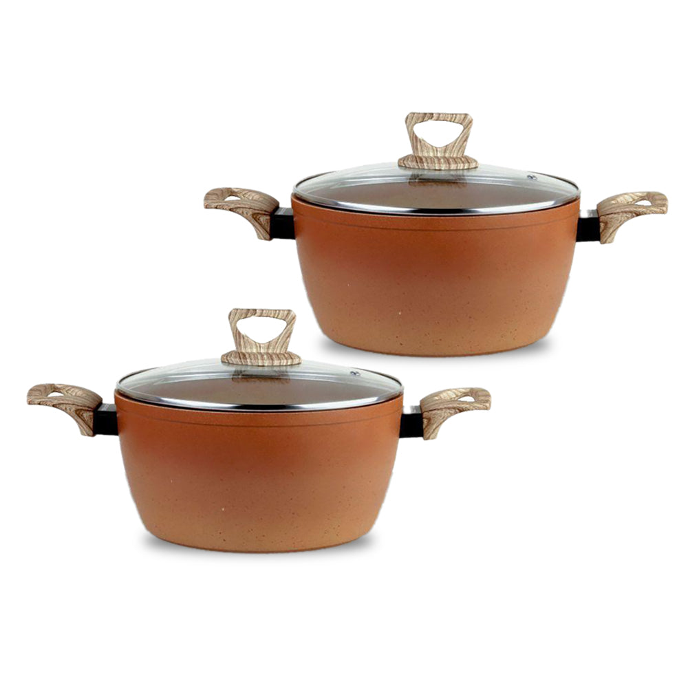 Terracotta Non-Stick Coated Forged Aluminum Induction Friendly Round Casserole Pan with Glass Lid - Orange 24 CM - (Pack Of 2)