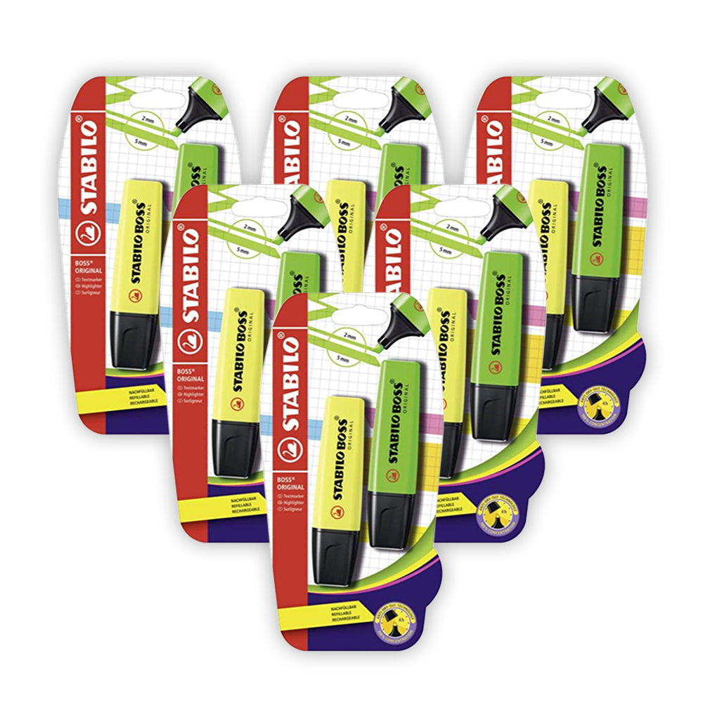 STABILO BOSS ORIGINAL Yellow and Green (pack of 6)