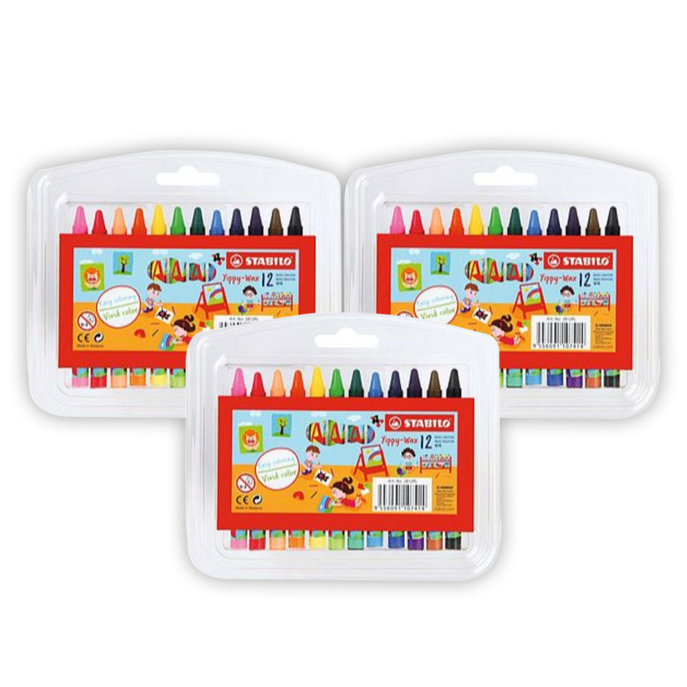 STABILO Yippy-Wax Crayons 12 Pieces (pack of 3)