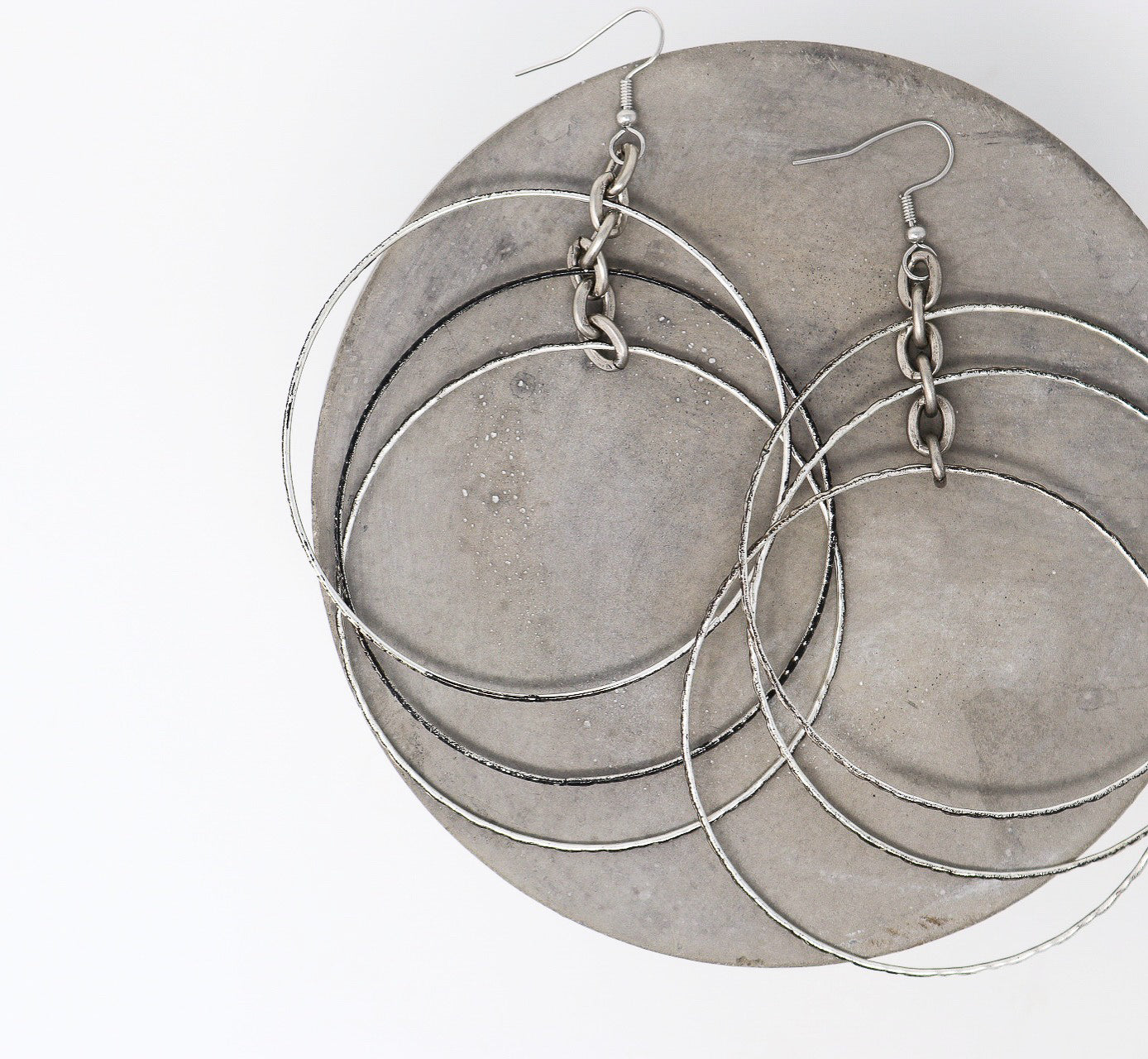 KISS Earrings - Twisted Silver