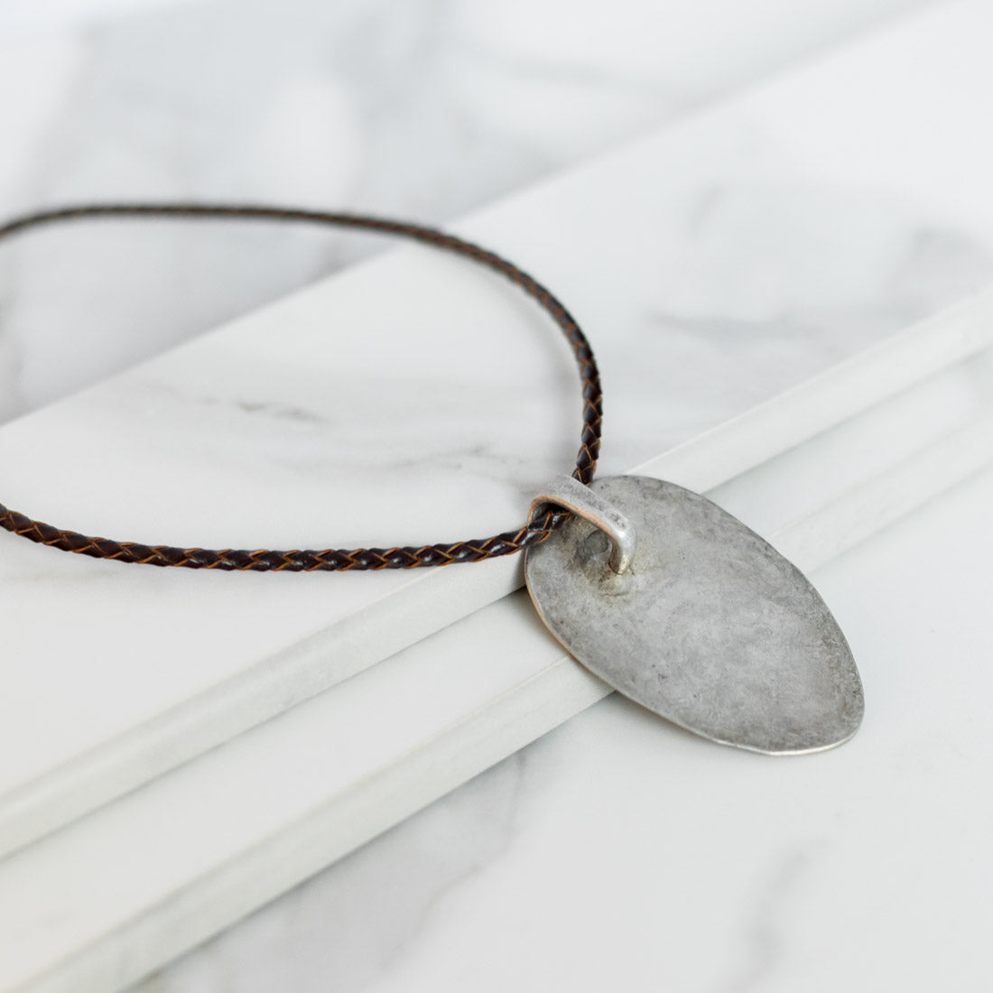 LEATHER ROCKER Necklace - Twisted Silver
