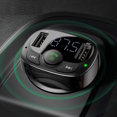 Dual USB Car Charger with FM Transmitter Bluetooth Handfree