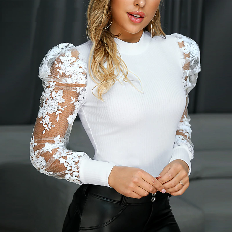 Lace Puff Sleeve Knit Top  Women Tops Lady Blouses