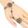 Jewelry Set Blue Main Stone Bracelet Link Ring For Women Antique Gold Mosaic Crystal Vintage Wedding Jewelry