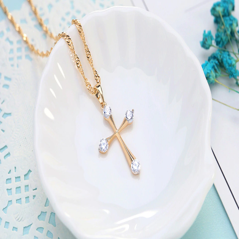 Simple Cubic Zirconia Gold Color Cross Pendant Fashion Cute Cross Necklace Women Prayer Christian Jesus Jewelry