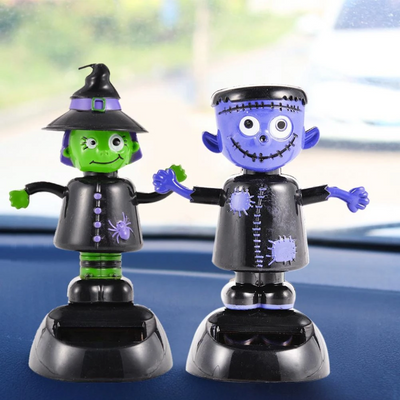 Automatic Swing Shaking Head Ghost Doll Witch Solar Car Decoration