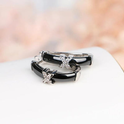 U Shape Clip Up Women Earrings with X Crystal Rhinestone Black White Ceramic Earring