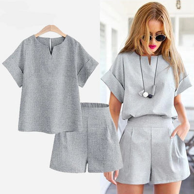Women 2 PCS Casual Outfit Set Solid Top & Shorts
