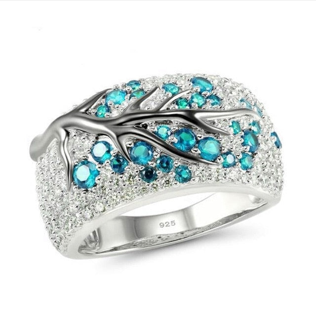 Crystal Zircon Tree Branch Ring for Women