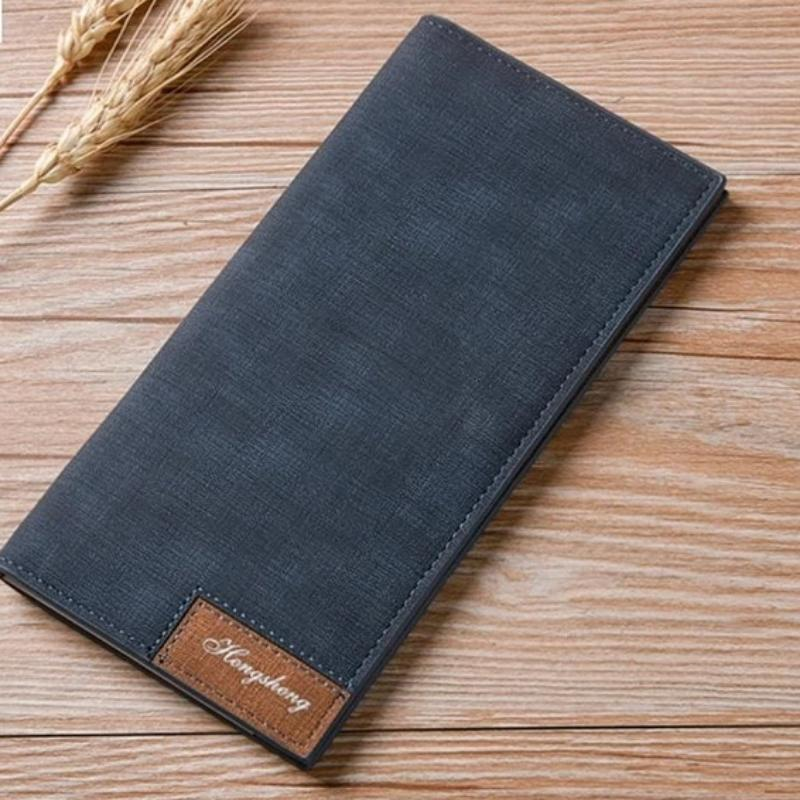 Vintage Slim Long Leather Wallet for Men