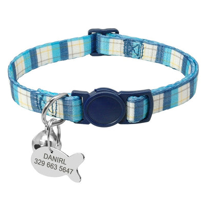 Custom Safety Cat Collar Personalized Cute Kitten Puppy Collars with Bell Name Tag