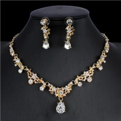 Classic Bridal Jewelry Sets for Women Cubic Necklace Earrings Set Gold Color Wedding Dresses