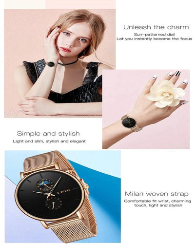 Luxury Brand Watch Simple Quartz Lady Waterproof Wristwatch