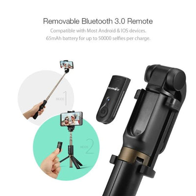Wireless Bluetooth Selfie Stick Mini Tripod Extendable Foldable Monopod for iPhone, Samsung, Xiaomi, Huawei Phone