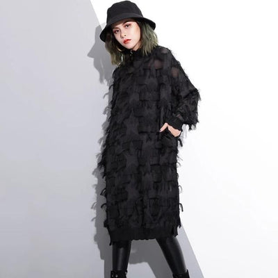 Autumn Winter Stand Collar Long Sleeve Perspective Black Loose Tassels Big Size Dress