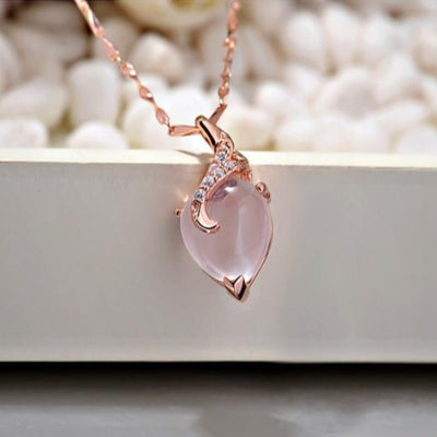Heart Opal Necklaces & Pendants Rose Gold Color Chain White Crystal Necklace Jewelry Gift