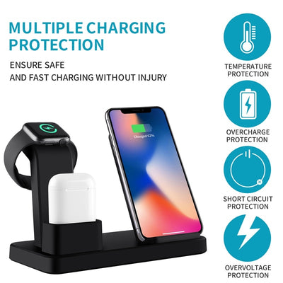 3 in 1 - Qi Wireless Charger for iPhoneX 7, 8 Quick Charger for Apple Watch 4 3 2 1