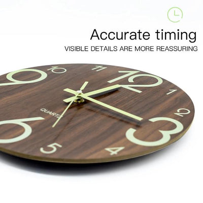 Wooden Wall Clock Luminous Number Hanging Clocks Modern Watches Decoration for Living Room