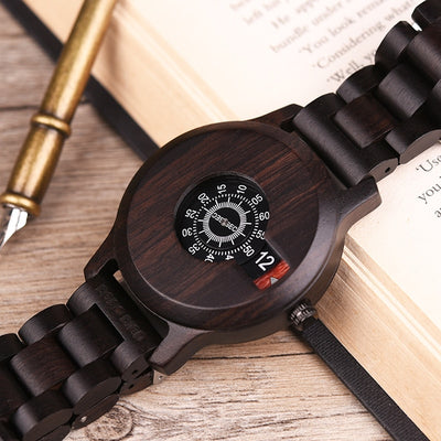 Wood Wristwatch Ebony Special Dial Display Quartz Timepiece Minimalist Design