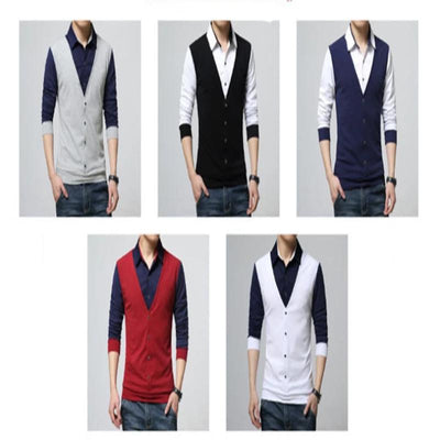 Autumn Men's Casual T-Shirts Fake Two Designer Clothing Long Sleeve