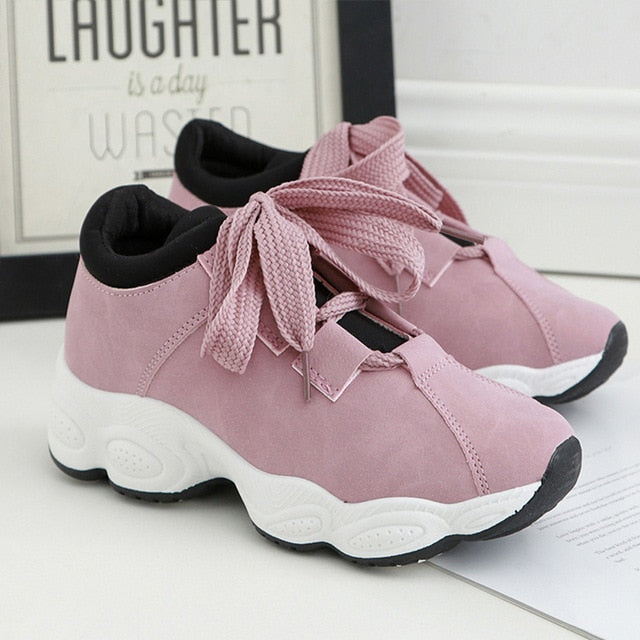 Women Flat Sneakers Breathable Lace up Canvas Vulcanize Fashion Shoes