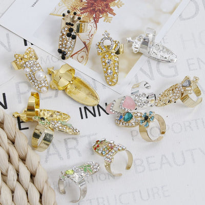 Bowknot Nail Ring Charm Crown Flower Crystal Finger Nail Rings for Women Rhinestone Fingernail Protective