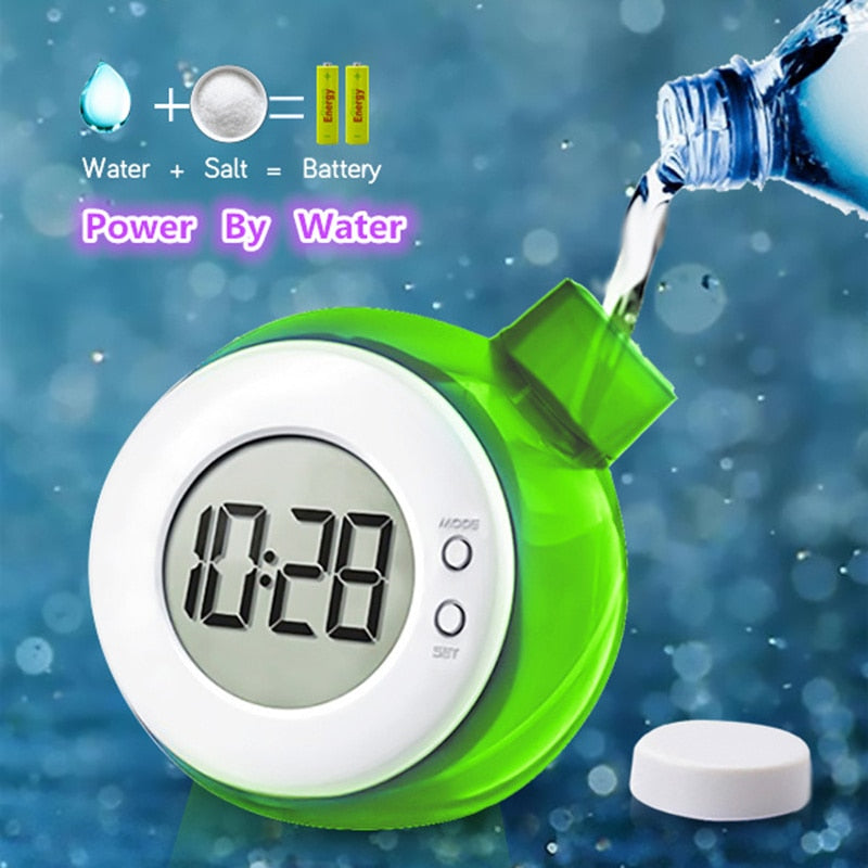 Creative Water Powered Clock Child Desk Table Clock Smart Water Element Mute Digital Clock with Calendar Home Decor