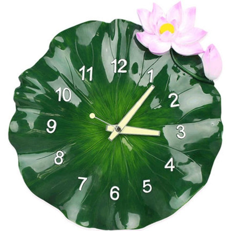 Large 3D Creative Art Green Lotus Wall Clock Home & Decor