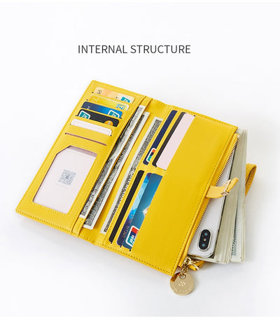 Wristband Women Long Wallet Lady Purse Zipper Phone Pocket Card Holder