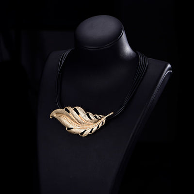 Big Metal Leaf Pendant with Layered Chain Vintage Choker Necklace Jewelry Gift